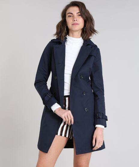 Casaco-Trench-Coat-Feminino-Transpassado-com-Bolsos-Azul-Marinho-9362073-Azul_Marinho_1