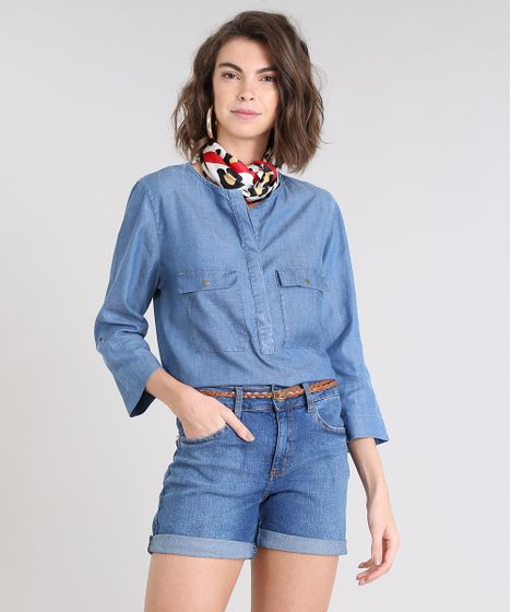 7bc6a3ae8f Blusa Jeans Feminina com Bolsos Manga Longa Azul Claro - cea