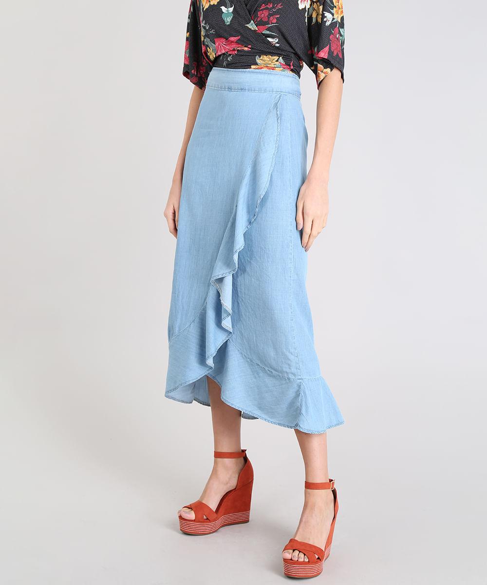 de4f0e4b35 Saia Jeans Feminina Envelope com Babado Azul Claro - cea