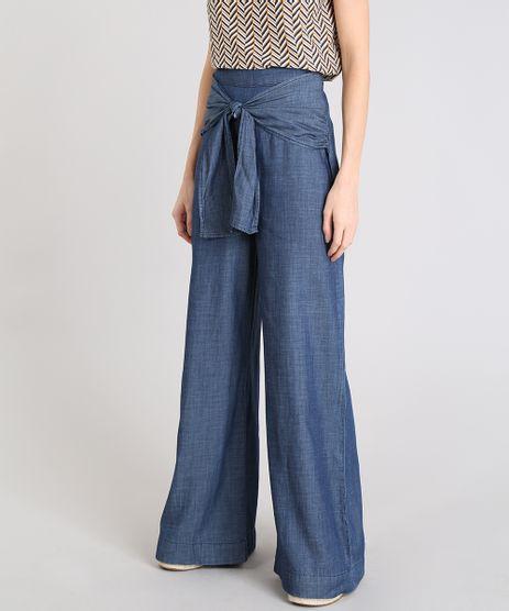 Calca-Feminina-Pantalona-com-Amarracao-em-Jeans-Leve-Azul-Escuro-9539290-Azul_Escuro_1