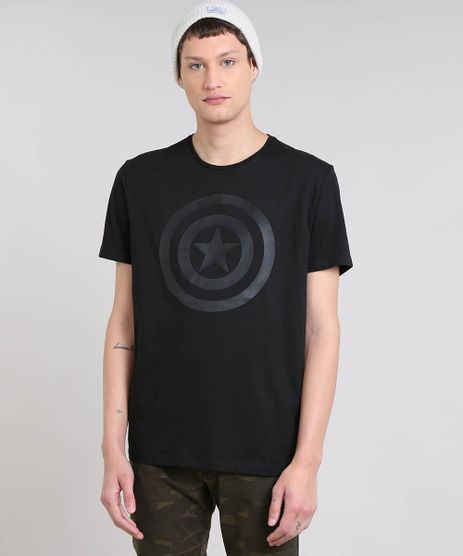 Camiseta-Masculina-Capitao-America-Manga-Curta-Gola-Careca-Preta-8731488-Preto_1