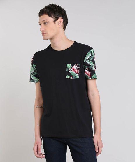 Camiseta-Masculina-com-Bolso-e-Mangas-Curtas-Estampados-Gola-Careca-Preta-9473080-Preto_1