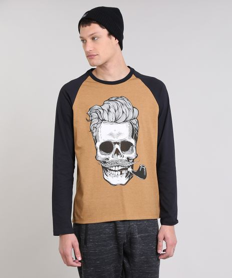 Camiseta-Masculina-Raglan--Caveira--Manga-Longa-Gola-Careca-Caramelo-9462914-Caramelo_1