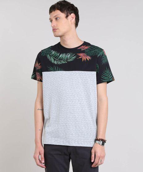 Camiseta-Masculina-Listrada-com-Estampa-Tropical-Manga-Curta-Gola-Careca-Cinza-Mescla-Claro-9448989-Cinza_Mescla_Claro_1