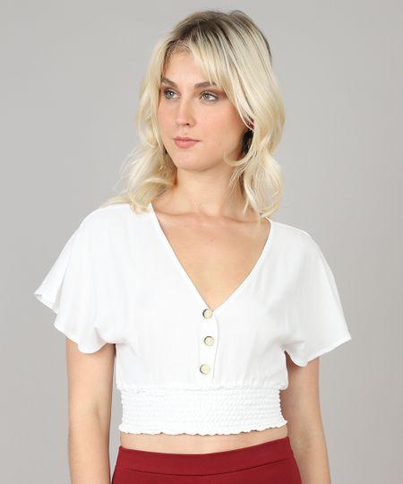 6ff01d7c4e Menor preço em Blusa Feminina Cropped com Botões Manga Curta Decote V Off  White