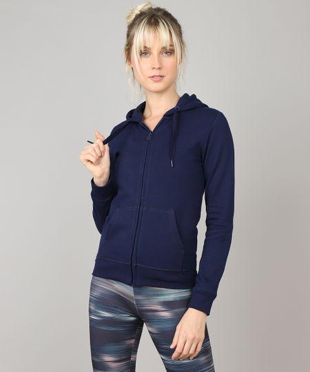 6cc6b087f37 Blusão Feminino Esportivo Ace com Capuz em Moletom Azul Marinho