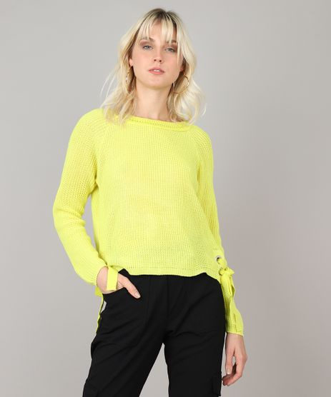 Sueter-Feminino-em-Trico-com-Amarracao-Amarelo-Neon-9505951-Amarelo_Neon_1