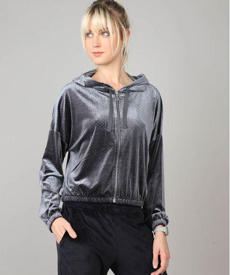 315e9ca61 Blusão Feminino Esportivo Ace em Veludo com Capuz Chumbo - cea