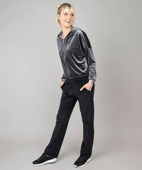 8c6905e58 Blusão Feminino Esportivo Ace em Veludo com Capuz Chumbo ...