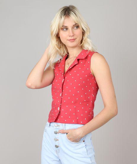 Camisa-Feminina-Cropped-Estampada-de-Poa-Sem-Manga-Rosa-Escuro-9521503-Rosa_Escuro_1