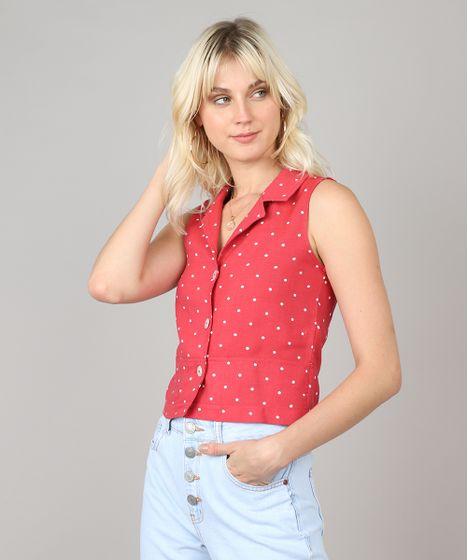 483a30a904 Camisa Feminina Cropped Estampada de Poá Sem Manga Rosa Escuro - cea