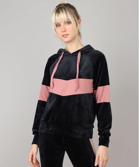 85e0716a7 Blusão Feminino Esportivo Ace em Veludo com Capuz e Recorte Preto - cea