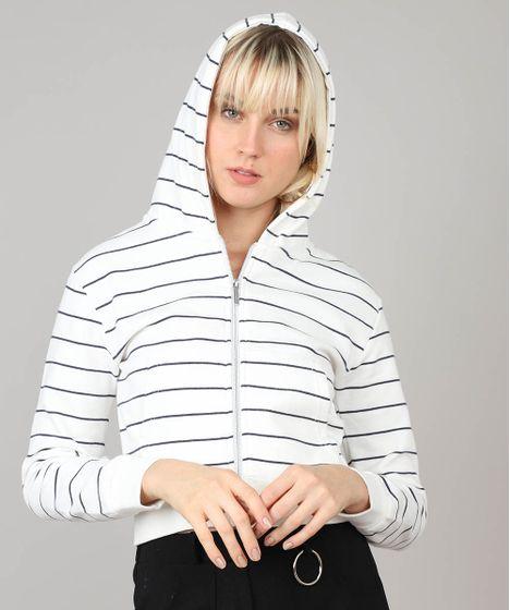 e964919b7b Blusão Feminino Básico em Moletom Listrado com Capuz Off White ...