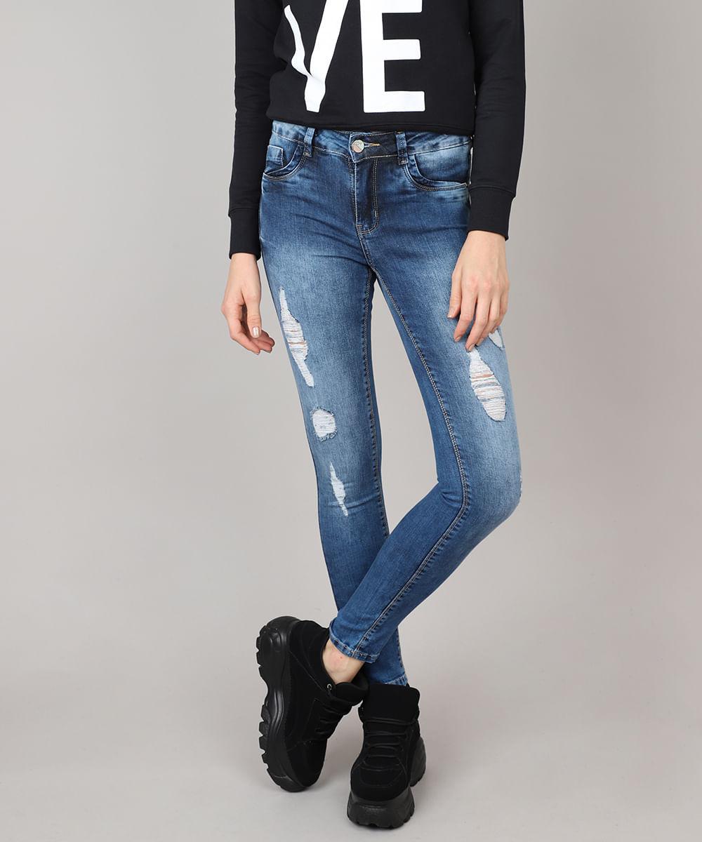 1b9cd6b439 Calça Jeans Feminina Sawary Super Skinny Destroyed Azul Médio - cea