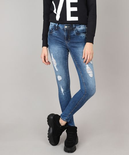 2e75ab7bf Menor preço em Calça Jeans Feminina Sawary Super Skinny Destroyed Azul Médio