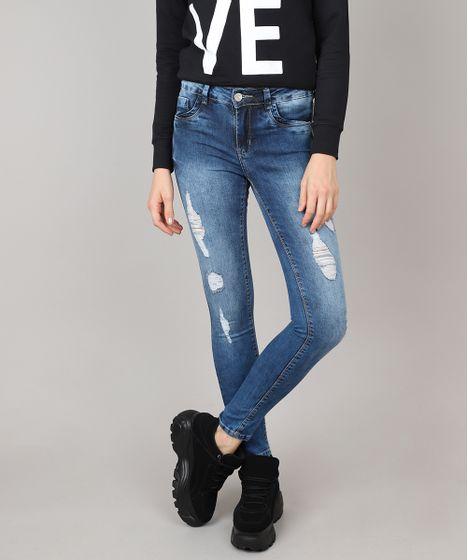 09348f8d6 Calça Jeans Feminina Sawary Super Skinny Destroyed Azul Médio - cea