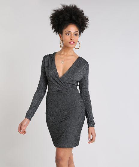 Vestido-Feminino-Curto-Transpassado-com-Lurex-Manga-Longa-Preto-9509517-Preto_1