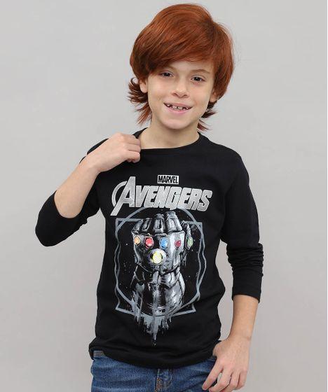 17b9a0480e Camiseta Infantil Thanos Os Vingadores Manga Longa Preta - cea