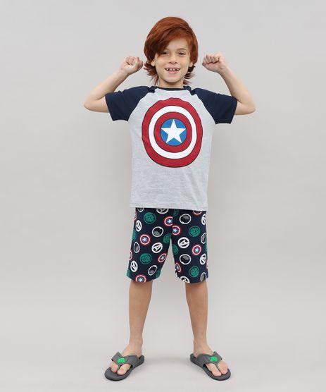 Pijama-Infantil-Capitao-America-Os-Vingadores-Manga-Curta-Cinza-Mescla-9526414-Cinza_Mescla_1