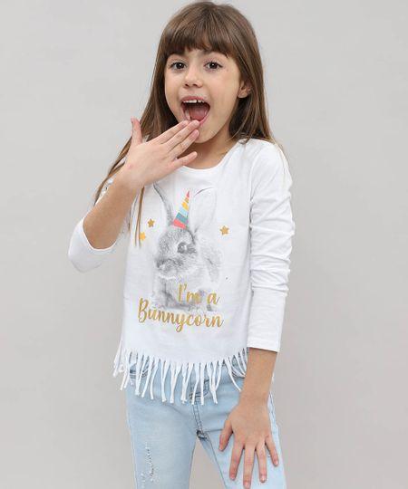 8c9b3bb3b Menor preço em Blusa Infantil com Franjas e Estampa de Coelho Manga Longa  Off White