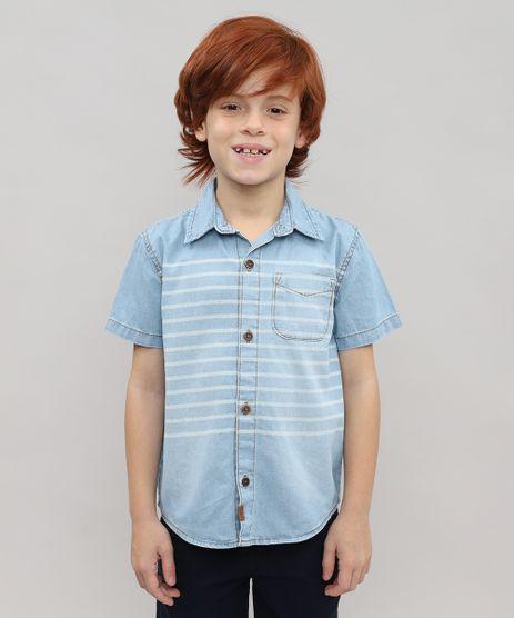 Camisa-Jeans-Infantil-com-Listras-e-Bolso-Manga-Curta-Azul-Claro-9528491-Azul_Claro_1