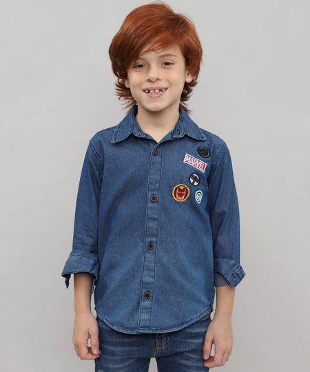 f3e953ff5e Menor preço em Camisa Jeans Infantil com Patch Os Vingadores Manga Longa  Azul Médio
