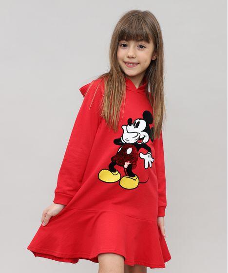 a83102fda Vestido Infantil Mickey em Moletom com Capuz e Paetê Vermelho - cea