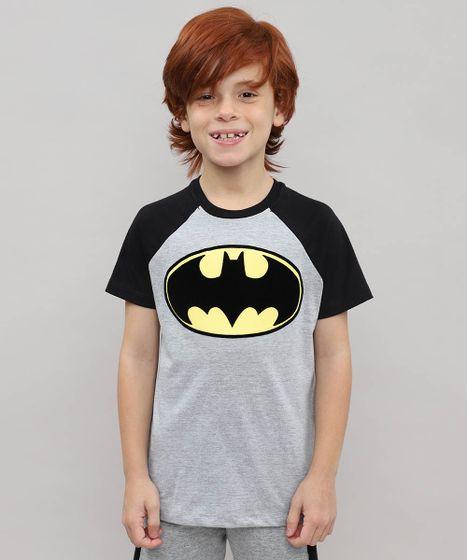 a210016d5 Camiseta Infantil Raglan Batman Manga Curta Cinza Mescla - cea