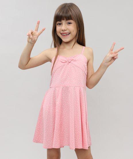 Vestido-Infantil-Estampado-de-Poa-com-Laco-sem-Manga-Rosa-Claro-9328162-Rosa_Claro_1