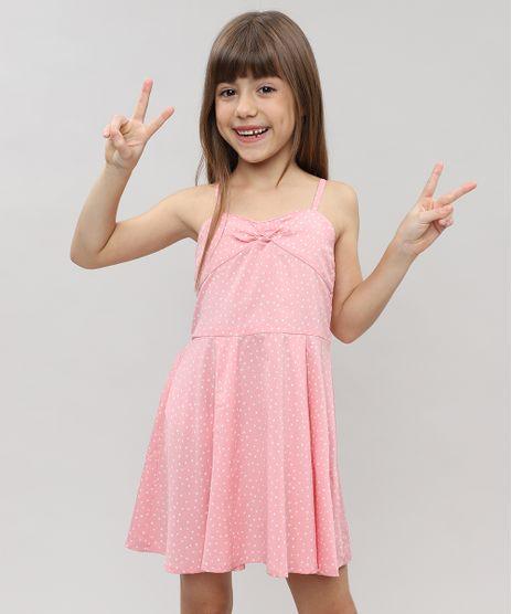 58b8eb422c Vestido-Infantil-Estampado-de-Poa-com-Laco-sem-