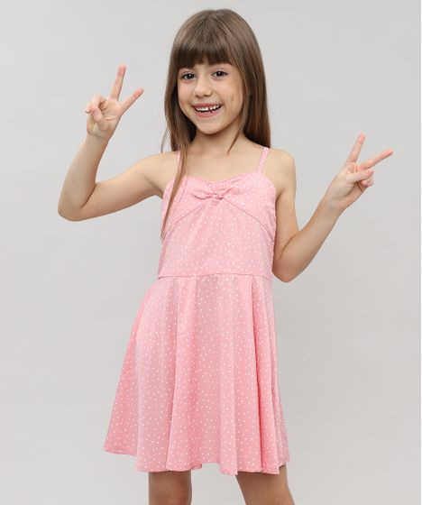 783b86f2c Vestido Infantil Estampado de Poá com Laço sem Manga Rosa Claro - cea