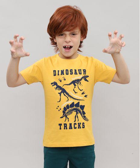 Camiseta-Infantil-com-Estampa-Dinossauro-Manga-Curta-Mostarda-9526223-Mostarda_1