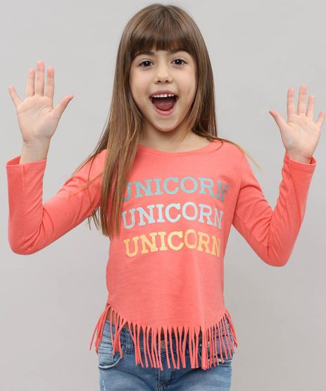 Blusa-Infantil-com-Franjas-e-Estampa--Unicorn--Manga-Longa-Coral-9442902-Coral_1