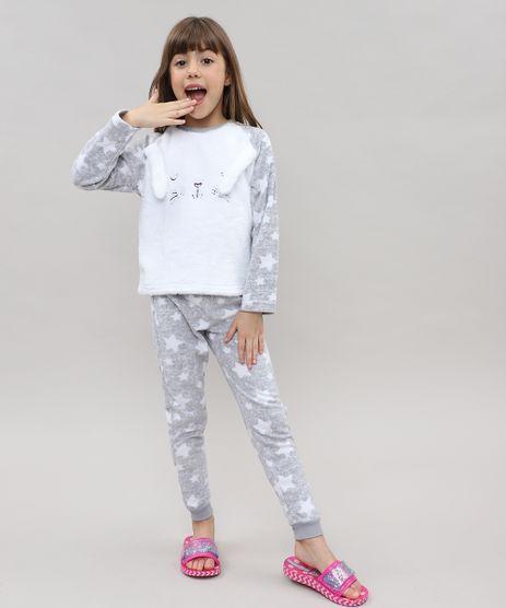 Pijama-de-Inverno-Infantil--Coelhinho--em-Fleece-Manga-Longa-Cinza-Claro-9364246-Cinza_Claro_1