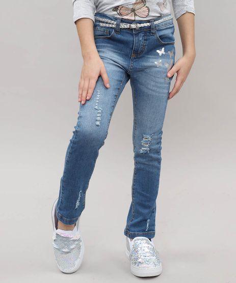 Calca-Jeans-Infantil-Destroyed-com-Borboletas-e-Cinto-Jeans-Medio-9503294-Jeans_Medio_1
