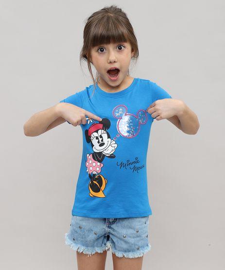 Blusa-Infantil-Minnie-com-Manga-Curta-Dobrada-e-Decote-Redondo-Azul-9457401-Azul_1