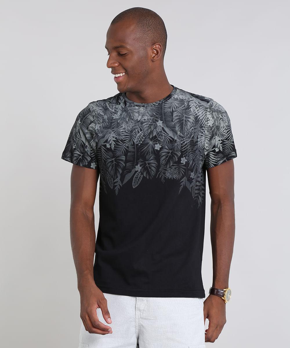 7b2314ae05 Camiseta Masculina Estampada Folhagem Manga Curta Gola Careca Preta ...