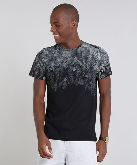 Camiseta-Masculina-Estampada-Folhagem-Manga-Curta-Gola-Careca-Preta-9528391-Preto_1
