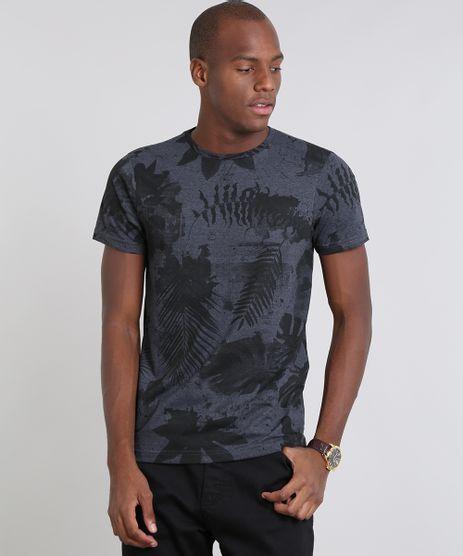 Camiseta-Masculina-Estampada-Folhagem-Manga-Curta-Gola-Careca-Cinza-Mescla-Escuro-9528387-Cinza_Mescla_Escuro_1