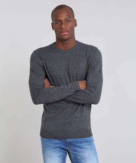 Sueter-Masculino-Comfort-Fit-em-Trico-Gola-Redonda-Cinza-Escuro-9364114-Cinza_Escuro_1