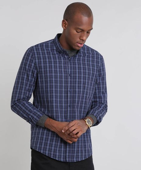 Camisa-Masculina-Comfort-Estampada-Xadrez-Manga-Longa-Azul-Marinho-9445210-Azul_Marinho_1