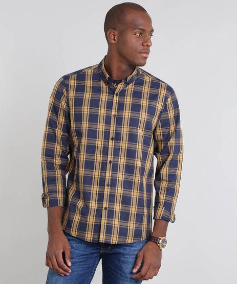 Camisa-Masculina-Comfort-Estampada-Xadrez-Manga-Longa-Azul-Marinho-9445209-Azul_Marinho_1