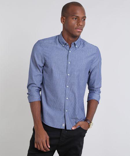 90997b9ef2 Menor preço em Camisa Masculina Comfort Listrada Manga Longa Azul Escuro