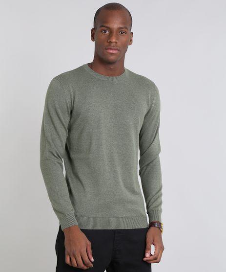 Sueter-Masculino-Comfort-Fit-em-Trico-Gola-Redonda-Verde-Militar-9364114-Verde_Militar_1