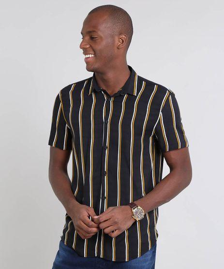 Camisa-Masculina-Relaxed-Listrada--Manga-Curta-Preta-9448227-Preto_1