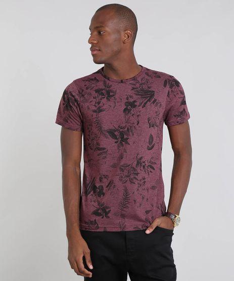 Camiseta-Masculina-Estampada-Folhagem-Manga-Curta-Gola-Careca-Vinho-9528385-Vinho_1