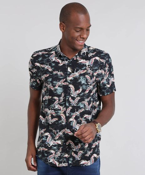Camisa-Masculina-Relaxed-Estampada-de-Passaros-Manga-Curta-Preta-9448225-Preto_1