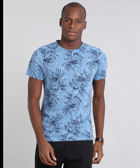Camiseta-Masculina-Estampada-Folhagem-Manga-Curta-Gola-Careca-Azul-9529176-Azul_1