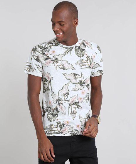 Camiseta-Masculina-Estampada-Folhagem-Manga-Curta-Gola-Careca-Cinza-Mescla-Claro-9526956-Cinza_Mescla_Claro_1
