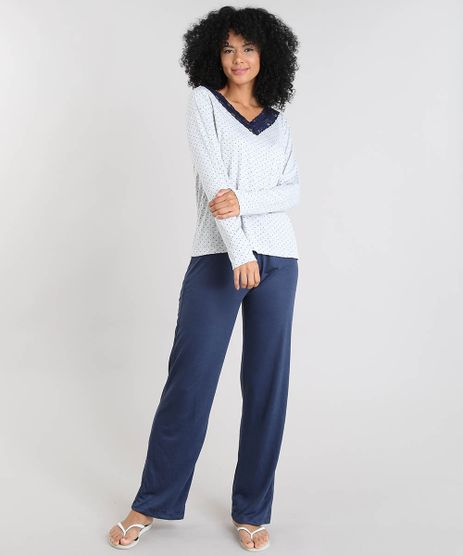 Pijama-Feminino-Estampado-de-Poa-com-Renda-Manga-Longa-Cinza-Mescla-9508007-Cinza_Mescla_1
